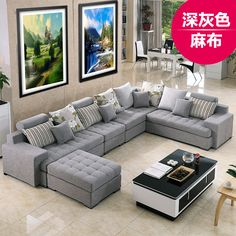 The comfort of their living room Mediterranean-washable fabric sofa chaise combination of large size modern minimalist corner sofa - Taobao