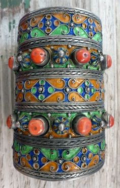 North Africa | Silver, enamel and coral vintage cuff from the Kabyle people.