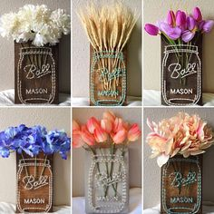 Mason jar flower string art with artificial flowers! The size of the wood measures approximately 10 x 5, and the height of the flowers will vary from 1-5 inches above the wood. Please include in the Note to Seller: -String color of the mason jar (the most common are Aqua and