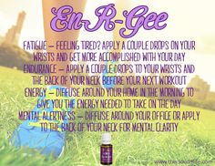 En-R-Gee Essential Oil is an uplifting blend of oils that enhances your energy level naturally. Use it as natural adrenal support or to substitute your mid-day cup of coffee for an uplifting boost! It will also help with mental alertness and concentration! #youngliving #essentialoils