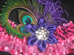 Wedding Garter in Fuchsia Pink Zebra & Sheer by NakedOrchidGarters, $45.00
