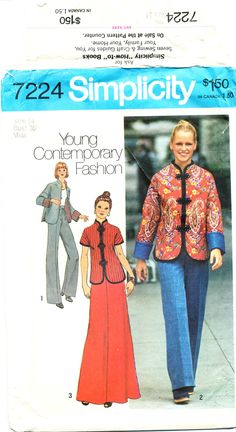 Simplicity 7224, Oriental style jacket, skirt, pants, ©1975, Misses' size 14, Bust 36 by MySewingChest on Etsy