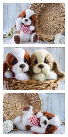 Amigurumi Cute Dog Free Pattern – Free Amigurumi Crochet Crochet Amigurumi Free Patterns, Crochet Animal Patterns, Stuffed Animal Patterns, Crochet Vs Knit, Crochet Dolls, Amigurumi Doll, Dog Crafts, Needle Felted Animals, Lana