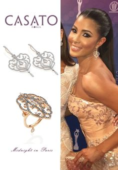 Sarodj Bertin, #actress and #model, wears #Casato #ring and #earrings in 18kt rose gold and white #diamonds from the collection Midnight in Paris at Premios #Soberano2015 in Santo Domingo. #PremiosSoberano #SarodjBertin