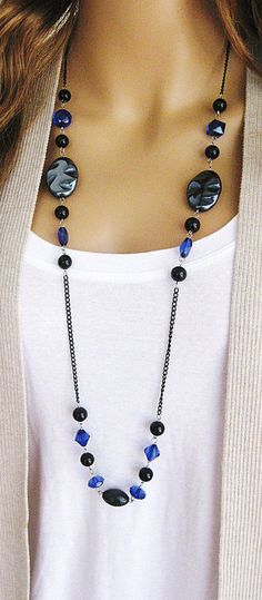 Long Black Beaded Necklace Long Blue Beaded by RalstonOriginals (Diy Necklace Black) Fashion Jewelry Necklaces, Handmade Necklaces, Wire Jewelry, Beaded Jewelry, Handmade Jewelry, Jewellery, Jewelry Kits, Diy Jewelry With Beads, Jewelry Trends