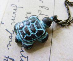 Rustic Greek Green Patina Mykonos Turtle Charm by meiguidesigns, $16.00