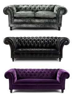 Contemporary Chesterfield sofas, love the purple and gray ones. Gothic Furniture, Leather Furniture, Furniture Decor, Leather Sofas, Furniture Design, Leather Chesterfield, Capitone Sofa, Chesterfield Lounge, Deco Baroque