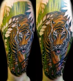 Tiger Tattoo with Leaf Cutouts