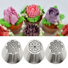 3Pcs Stainless Steel Russian Tulip Flower Icing Piping Nozzles Cake Decor Tips Baking Tools