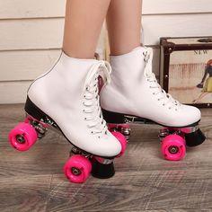Double Roller Skates Genuine Leather Matel Base Pink 4 Wheels Two Side Roller Skate Patins Lady Adulto Adult Skate Shoes