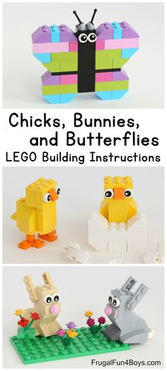 How to Make Chicks, Bunnies, and Butterflies with LEGO Bricks - Frugal Fun For Boys and Girls Spring Builds! How to Make Chicks, Bunnies, and Butterflies with LEGO Bricks - Frugal Fun For Boys and Girls Lego Duplo, Lego Ninjago, Lego Toys, Minecraft Lego, Minecraft Houses, Minecraft Pattern, Minecraft Skins, Instructions Lego, Lego Hacks