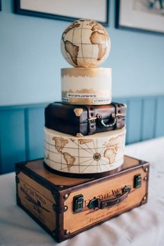 Cake suitcase globes map airplane museum wedding concorde www. - Cake Suitcase Globes Map Airplane Museum Wedding Concorde www. Themed Wedding Cakes, Themed Cakes, Wedding Cake Toppers, Wedding Themes, Travel Themed Weddings, Destination Weddings, Wedding Decorations, Bolo Sherlock, Beautiful Cakes