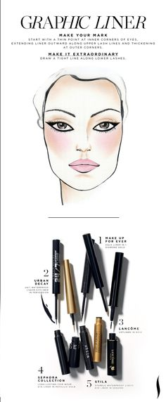 Sephora Glossy - MAKING FACES: Four Steps to Extraordinary Graphic Liner - How to pull off this Graphic Liner look. Beauty Make Up, My Beauty, Beauty Secrets, Beauty Hacks, Hair Beauty, Beauty Tips, Makeup 101, Makeup Trends, Eye Makeup