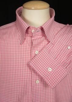 BRIONI Mens Dress Shirt VIII XXXXL Pink Red Check Cotton Long Sleeve #Brioni