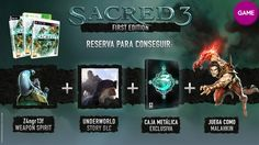 Sacred 3 edición First Edition incluye:  - DLC Underworld Story. - Juega como Malahkin. - Caja metálica. - Z4ngr13f, un Weapon Spirit exclusivo.