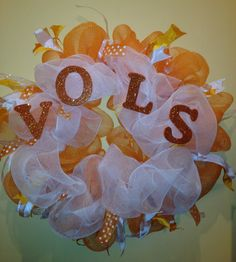 Tennessee Volunteers UT VOLS Fan Orange & Red Deco Mesh Wreath Home Decor