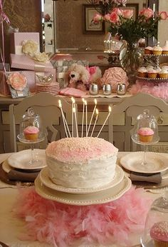 Love this cake!  on a pink feather boa