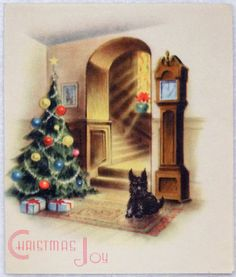 Scottie Dog Under the Tree- Vintage Christmas Greeting Card