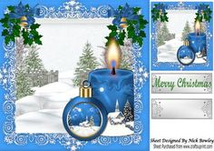 Pretty blue candle with bauble and snow scene 8x8 on Craftsuprint - Add To Basket!