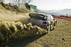 Sebastian Loeb in his Citroen rally car.