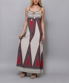 0a343118154 Highness NYC Cream   Red Geometric Maxi Dress