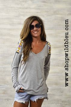 The Trinity | Wild Bleu. Gray v-neck tee with aztec beaded shoulder accents