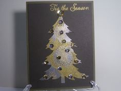 Metallic Silver & Gold Christmas Tree Card by TheCraftieOne