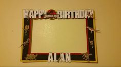 Jurassic Park themed photo booth frame. Birthday party
