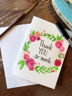 Excited to share the latest addition to my shop: Hand Painted Thank you Card-Watercolor Card-Handmade Card -Thank You Card Hand Doodles, Thank You Greeting Cards, Paper Art, Paper Crafts, Watercolor Cards, Watercolour Painting, Paint Cards, Diy Cards, Handmade Cards
