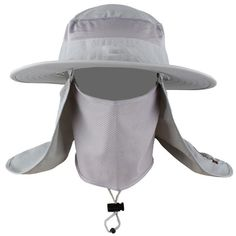 Mens Fishing Hat Round Edges Cap Camping Hat Sun UV Protection Summer Bucket Cap with Neck Face Curtain Breathable Visors