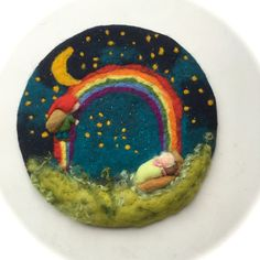 The Sandmann,bedtime Story,Rainbow,Picture,tapestry,Wet felted,Needle Felted. Waldorf,Wall hanging.