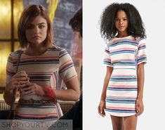 ShopYourTv:Pretty Little Liars: Season 6 Episode 14 Aria's Striped Dress - ShopYourTv