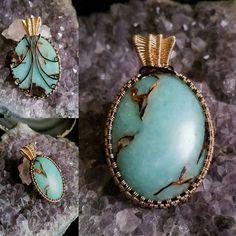 Wire wrapped semi precious gemstone pendant