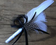 Avant Garde Feather Boutonniere Black and White Ivory- Custom Wedding Colors Groom Mens Feathers Boutonnieres Buttonholes Pins