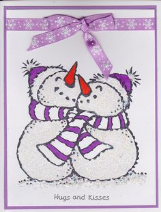 Hugging snowmen.  Made for my daughter who is away at college.
