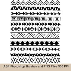 "Photoshop Brushes and clip art borders, Indian, tribal 8.5"" Doodle Clip Art Set, Creative clipart digital borders, INSTANT DOWNLOAD"