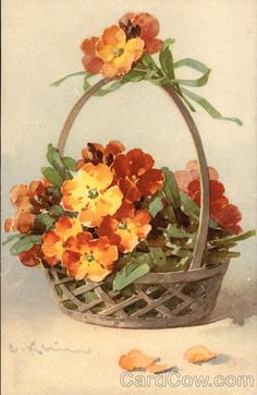 Flower Basket With Flowers C. Klein