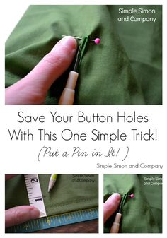Sewing Hacks | Best Tips and Tricks for Sewing Patterns, Projects, Machines, Hand Sewn Items. Clever Ideas for Beginners and Even Experts | Sewing Tip: Pin The Button Hole | http://diyjoy.com/sewing-hacks