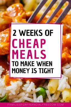 Budget Meal Planning: 2 Weeks of Easy Meals with Recipes! - Families for Financial Freedom There are ideas for quick Cheap Meals To Make, Cheap Family Meals, Food To Make, Quick Cheap Dinners, Simple Cheap Meals, Frugal Meals, Budget Meals, Quick Meals, Budget Recipes