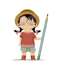 Girl with pencil. By Lu Mignon