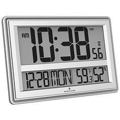 MARATHON CL030056SV Jumbo Atomic Wall Clock with Temperat...