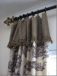 DIY Bay Window Curtain Rod for Less budget . DIY Bay Window Curtain Rod for Less budget French Country Curtains, French Curtains, French Country Bedrooms, French Country Decorating, Vintage Curtains, Diy Bay Window Curtains, Toile Curtains, Window Curtain Rods, Kitchen Curtains