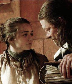Game of Thrones | Arya & Edd Stark, Maisie Williams and Sean Bean.