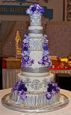 purple Indian style wedding cake (by GO member, Design Cakes (New York)