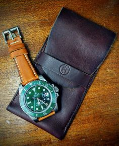 Another pouch made this time in #Horween #chromexcel shown here with a green #Rolex #Submariner on a butterscotch cavalier #leather strap. #RolexSubmariner #116610LV #leathercraft #leatherwork #handmade #womw #watchstraps #watchfam by blankstraps #rolex #submariner