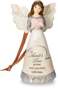 """Aunt by Elements - 4.5"""" Angel Holding Heart Ornament"""