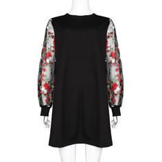 Botanical Embroidered Mesh Sleeve Mini Dress - FashionandLove.com