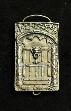 Door Panel Pendant Paris Solid Sterling by cassioppea on Etsy Metal Clay Jewelry, Jewelry Art, Unique Jewelry, Jewlery, Leaf Skeleton, Small Sculptures, Precious Metal Clay, Panel Doors, Artisan Jewelry