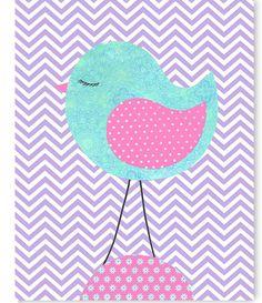 Aqua Purple Pink Bird Nursery Wall Art Chevron Children's Decor Girl's Room Print Baby Shower Gift Playroom Toddler by SweetPeaNurseryArt on Etsy