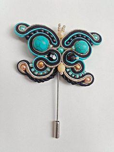 Pedido personalizado Isabel, Broche soutache mariposa, broche mariposa negro, broche soutache, broche alfiler, broche negro turquesa Broche-